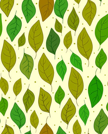 romance bed: Autumnal vector seamless pattern with green and yellow leaves Illustration