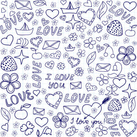 Beautiful vector seamless pattern with handwritten on the copybook paper words of love and other funny drawings Illustration