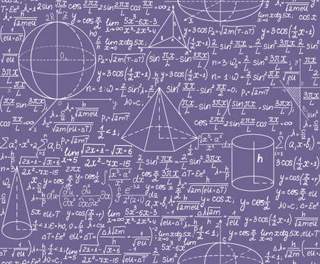 Mathematical vector seamless pattern with formulas. You can use any color of background