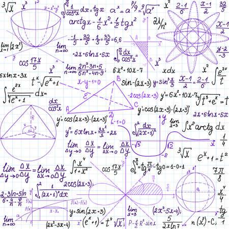 """Matemática vector sin patrón, con cifras y fórmulas, \\\ """"escritas a mano en el papel de cuaderno \\\"""", diferentes colores. Foto de archivo - 31293291"""