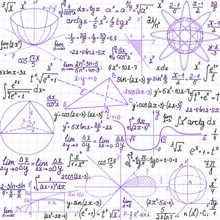 theorem: Mathematical vector seamless pattern with figures and formulas, \\\\\\\handwritten on the copybook paper\\\\\\\, different colors.