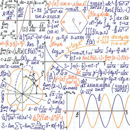theorem: Mathematical vector seamless pattern with formulas, plots and figures, \\\\\\\handwritten on the copybook paper\\\\\\\, different colors Illustration