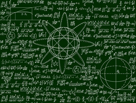 Mathematical seamless vector pattern with formulas, calculations and geometrical figures on a green background