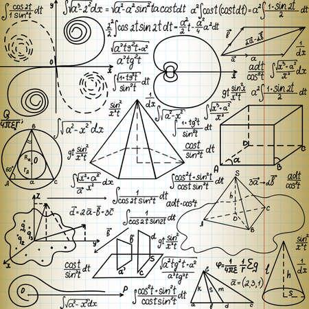 """teorema: Beautiful vector sin patrón, con cifras y fórmulas matemáticas,  """"escrita a mano en el papel de cuaderno viejo """""""