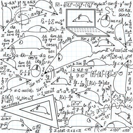 technical university: Mathematical vector seamless pattern with funny mice and trigonometry formulas handwritten on the copybook paper Illustration