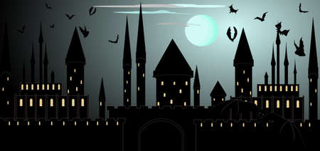 Halloween vector background with castle towers and flying bats