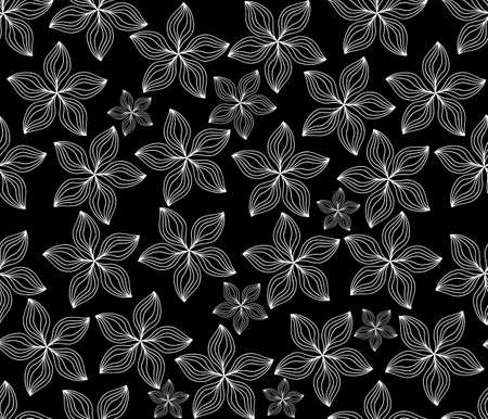 figured: Beautiful vector seamless pattern with white figured flowers