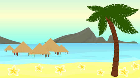 bungalow: Beautiful illustration of a polynesian tropical island with bungalow and palm tree
