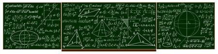 school blackboard with handwritten calculations