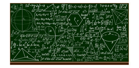 school blackboard with handwritten mathematical calculations