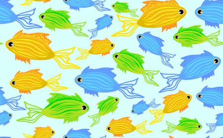 Cute seamless pattern with marine fish Vector
