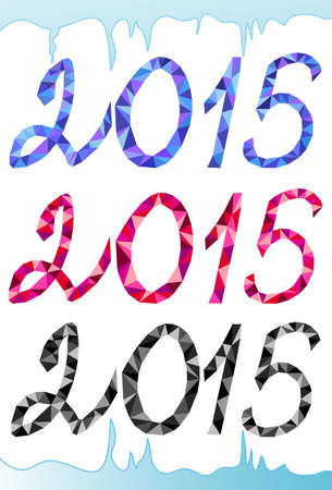 Vector 2015 New Year text, geometrical triangle numbers in icy frame Vector