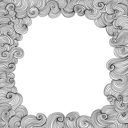 figured: Vector black and white figured frame with curling lines