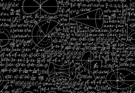 Mathematical vector seamless pattern with formulas, figures and calculations. You can use any color of background