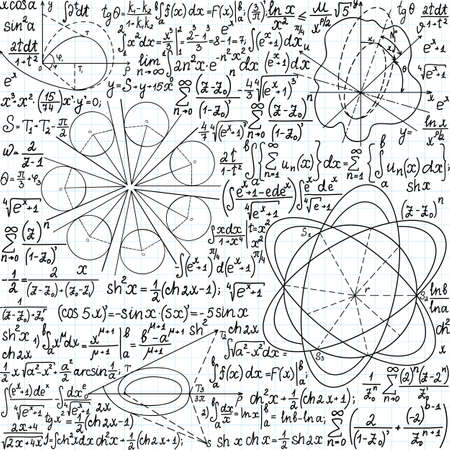 Mathematical vector seamless pattern with figures, formulas and equations, \handwritten on the copybook paper\. You can use any color of background