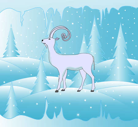 snowbank: Beautiful vector background with symbol of the upcoming year 2015 goat and icy forest Illustration