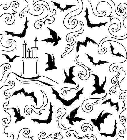 Halloween vector graphic background with flying bats Happy Halloween Vector