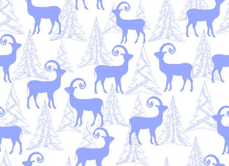 lapland: Vector seamless pattern with goats in winter forest. New Year and Christmas background