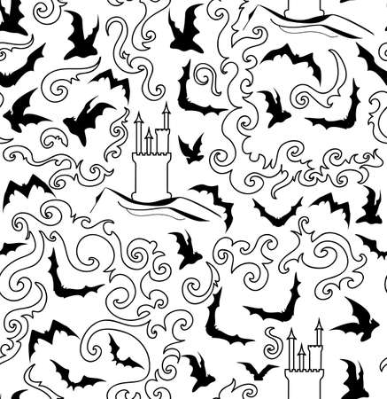 Halloween vector seamless pattern with castle and flying bats Vector