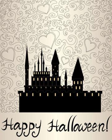 """samhain: Ornamental del vector del fondo de Halloween con el castillo del vampiro oscuro y el texto """"Feliz Halloween"""""""