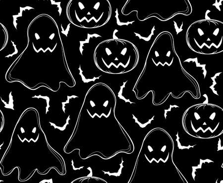 samhain: Halloween vector seamless pattern with ghosts, pumpkins and flying bats