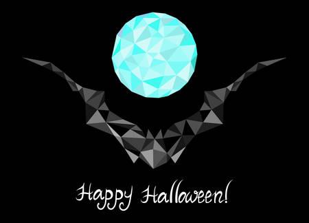 Halloween with geometrical bat and full moon