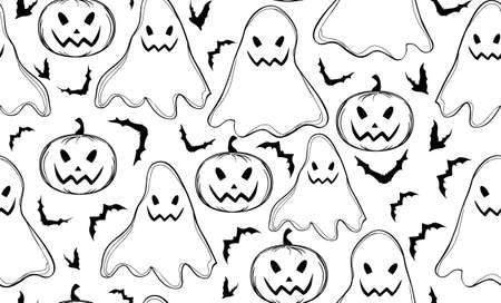 samhain: Halloween seamless pattern with ghosts and bats
