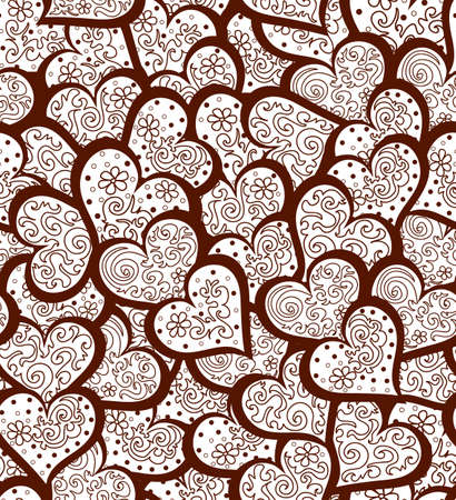 Beautiful valentine seamless pattern with many ornamental hearts. You can use it as a wedding , invitation, greeting card