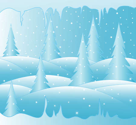 New year with snow covered winter forest and icy icicles Vector