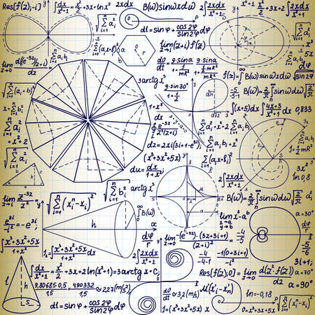 scalar: Vector seamless pattern with mathematical figures, plots and formulas, \handwritten on the old copybook paper\
