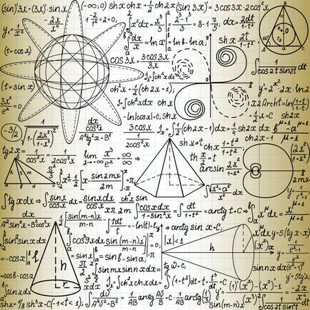 Vector seamless pattern with mathematical figures and formulas, \handwritten on the old copybook paper\