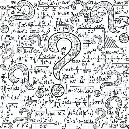 Mathematical vector seamless pattern with many question marks and other mathematical calculations, handwritten on the copybook paper Illustration