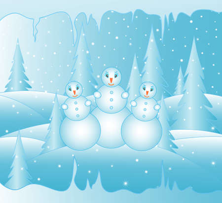 snowbank: Beautiful vector winter background with three funny snowmen. Happy New Year 2015 background. Merry Christmas card Illustration