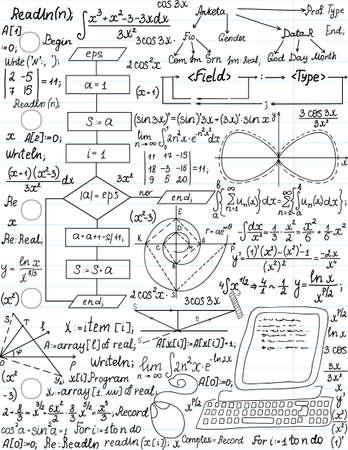 Vector patrón transparente con fórmulas matemáticas y código de programación, Ilustración de vector