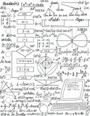 Vector seamless pattern with mathematical formulas and programming code, Illustration