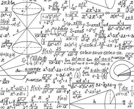 signos matematicos: Matemática vector sin patrón, con cifras y cálculos. Usted puede usar cualquier color de fondo
