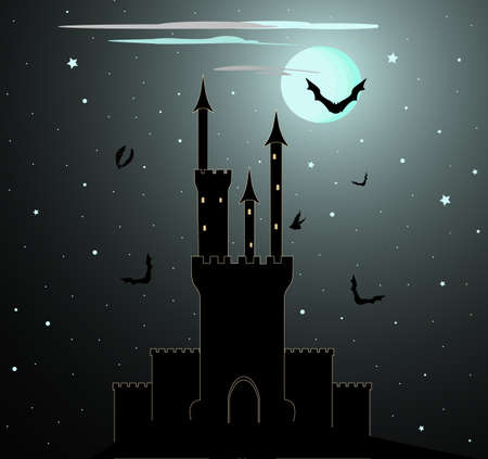 fortified: Halloween vector background with Dracula castle
