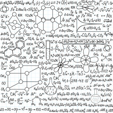 plots: Chemistry vector seamless pattern with plots, formulas and laboratory equipment, handwritten on the copybook paper