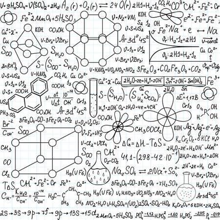 """quimica organica: Qu�mica vector sin patr�n con parcelas, f�rmulas y material de laboratorio, """"escrita a mano en el papel de cuaderno"""""""