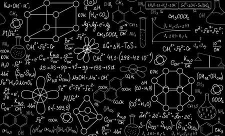 laboratory equipment: Chemistry vector seamless pattern with plots, formulas and laboratory equipment