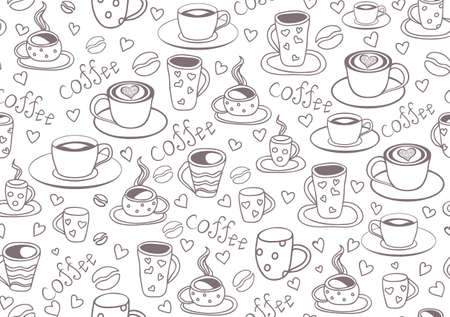 Beautiful vector seamless pattern with coffee cups and coffee beans