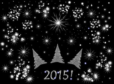 Beautiful festive vector background with Christmas trees, fireworks and snowflakes and the 2015! text Vector