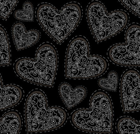 happy couple in bed: Beautiful Valentines vector seamless pattern with figured ornamental hearts