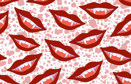 craving: Halloween vector seamless pattern with smiling vampire lips and sticking out fangs