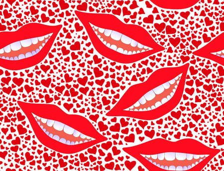 Vector seamless pattern with smiling female lips with snowwhite teeth and red hearts