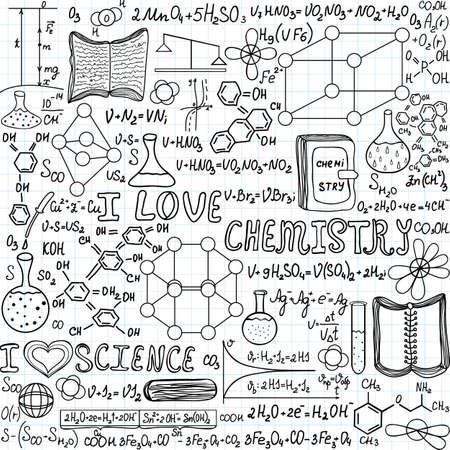 """organic chemistry: Química vector sin patrón con fórmulas, cálculos y equipos de laboratorio, """"Me encanta la química"""", """"escrita a mano en un papel de cuaderno de cuadrícula"""""""