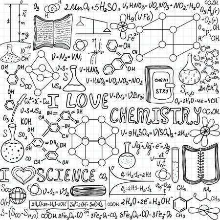 Chemistry vector seamless pattern with formulas, calculations and laboratory equipment, I love chemistry, handwritten on a grid copybook paper Illustration