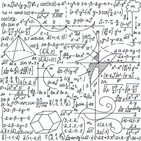 Mathematical vector seamless pattern with formulas, plots and equations, handwritten on a copybook paper Illustration