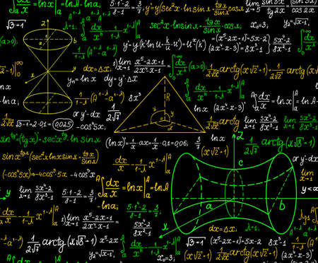 Mathematical vector seamless pattern with figures, formulas and other calculations, handwritten on the copybook paper, different colors