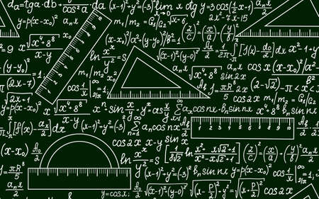 Mathematical vector seamless pattern with angle protractors, triangles, drawing rulers, formulas and calculations on a green background